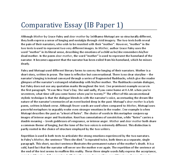Write the body of comparative essay