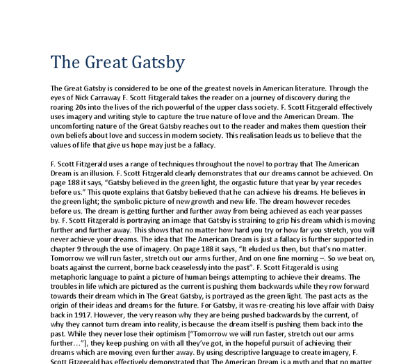 Help with great gatsby essay