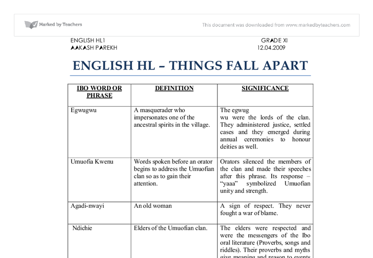 things fall apart table of ibo phrases and proverbs document image preview