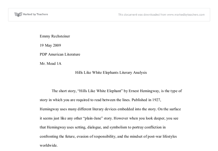 hills like white elephants literary analysis international  document image preview