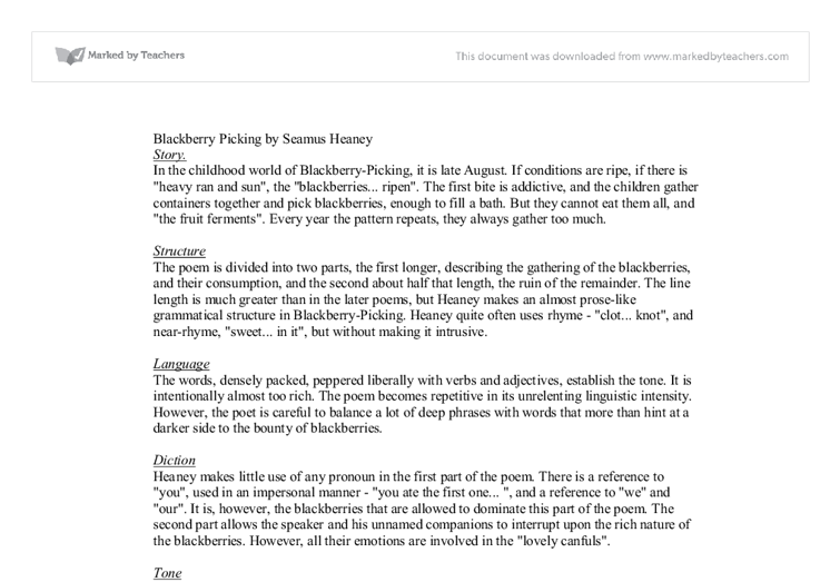 analysis of blackberry picking by seamus heaney themes language document image preview