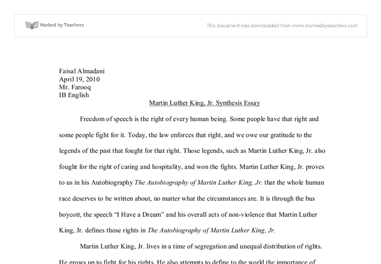 The Autobiography of Martin Luther King, Jr. Synthesis Essay ...