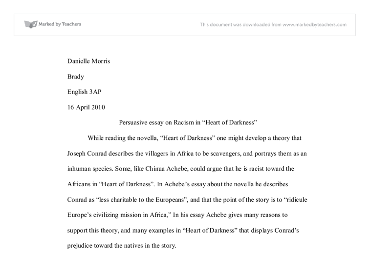 persuasive essay on racism in joseph conrad s heart of darkness document image preview