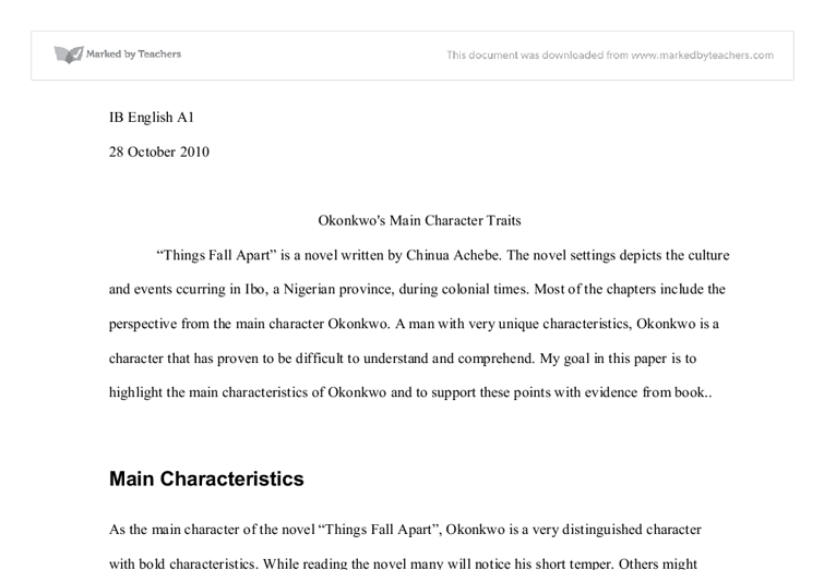 as the main character of the novel things fall apart okonkwo is a  document image preview