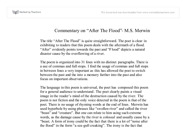 commentary on after the flood m s merwin international  document image preview