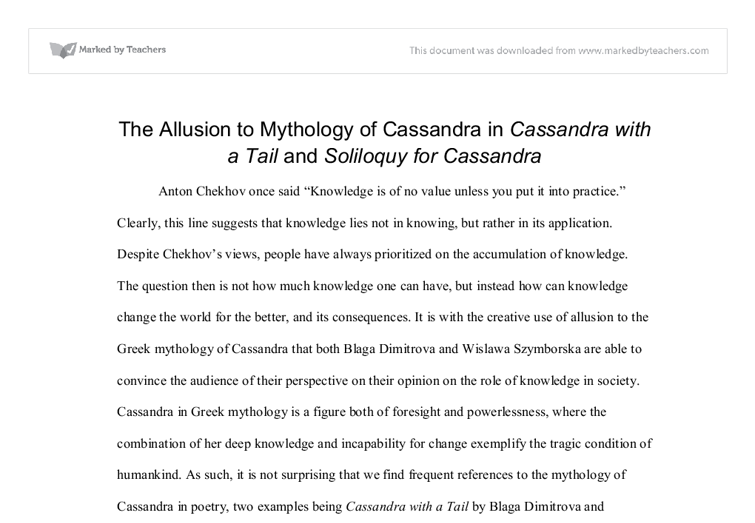 The Allusion To Mythology Of Cassandra In Cassandra With A Tail By