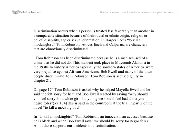 discuss discrimination in harper lees to kill a mockingbird  document image preview