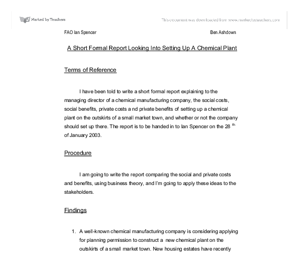 short formal report Report writing: formal there are many different types of reports this information is a basic outline only before you attempt to write a report, you should check the particular requirements for the subject.