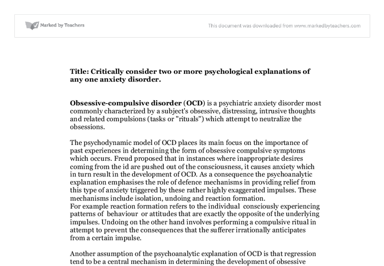 psychological explanations of one anxiety disorder essay Ap psychology free response select a specific disorder for which this therapy and social psychology (11pts) one of the most useful generalizations in.