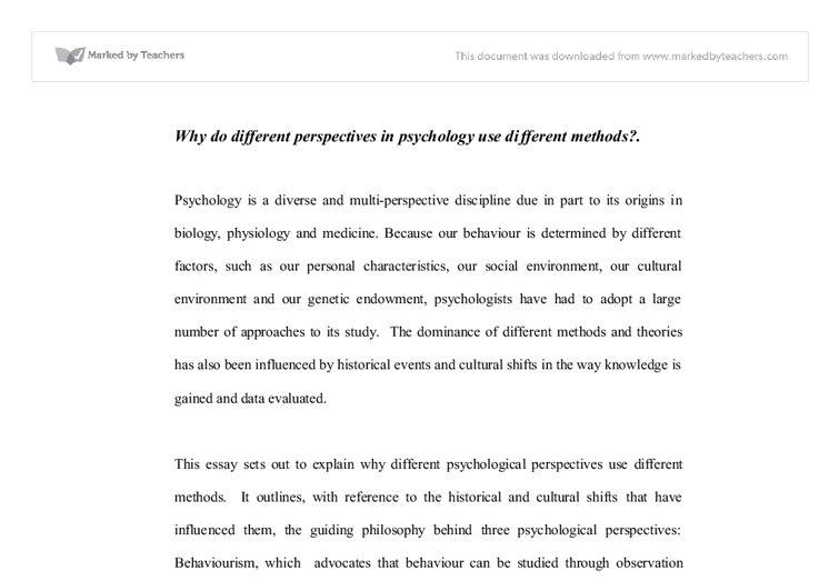 Essay about Learning and Cognitive Perspectives in Psychology
