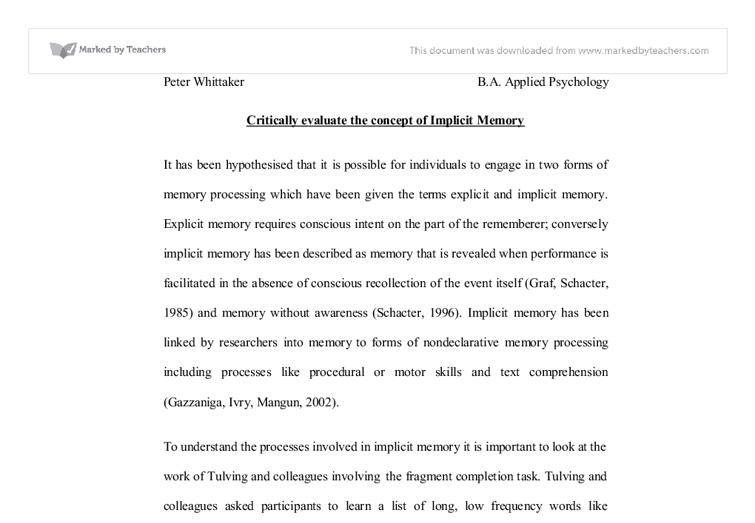 implicit essay Implicit and explicit knowledge about language introduction children acquire their rst language (l1) by engaging with their caretakers in natural meaningful communication from this evidence implicit and explicit memory.
