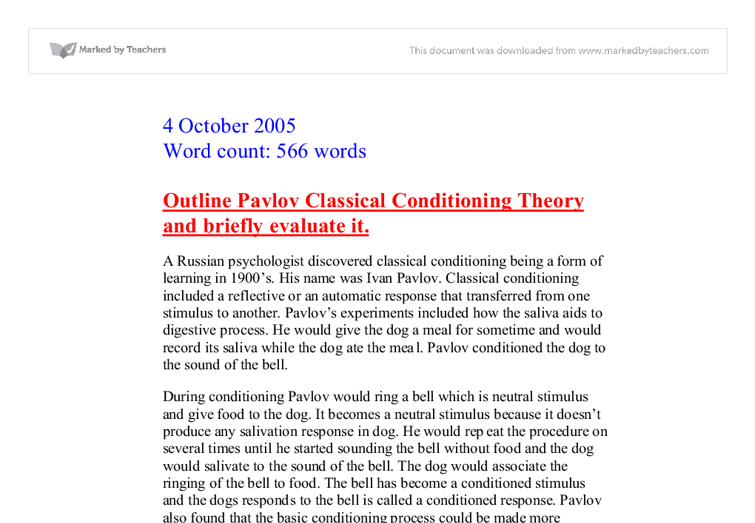 Classical conditioning paper   free college essays, term