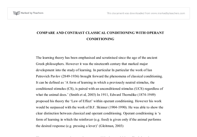 compare and contrast classical conditioning operant  document image preview