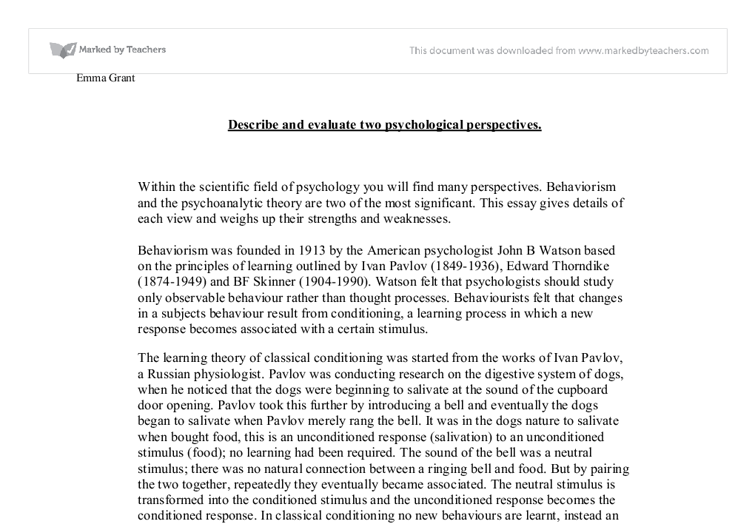 describe and evaluate two psychological perspectives university document image preview