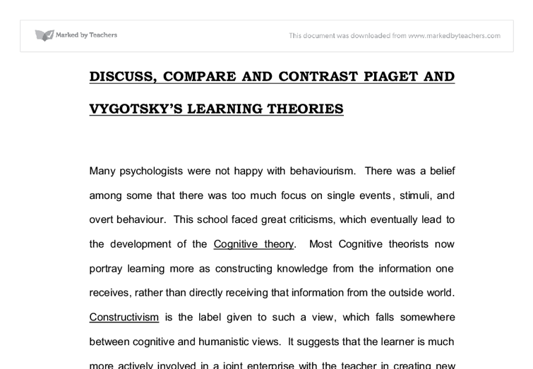 compare and contrast piaget and erikson theories of development Developmental stage theories are theories that divide child development into  distinct stages  erik erikson's stages of psychosocial development expanded on  freud's  jean piaget's theory of cognitive development described how children .