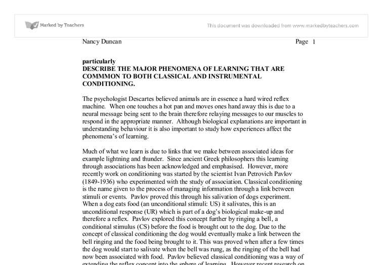 """instrumental conditioning essay Operant conditioning report - essay example the instrumental learning of thordike is termed as """"operant conditioning"""" where the individuals accustomed with."""
