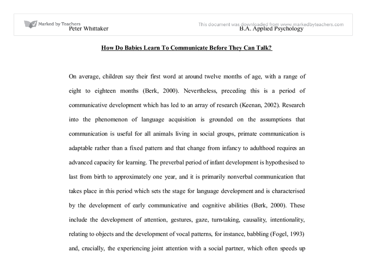 how do babies communicate essay How to communicate with parents what do you do at home your gift helps ensure that all babies and toddlers have a strong start in life.