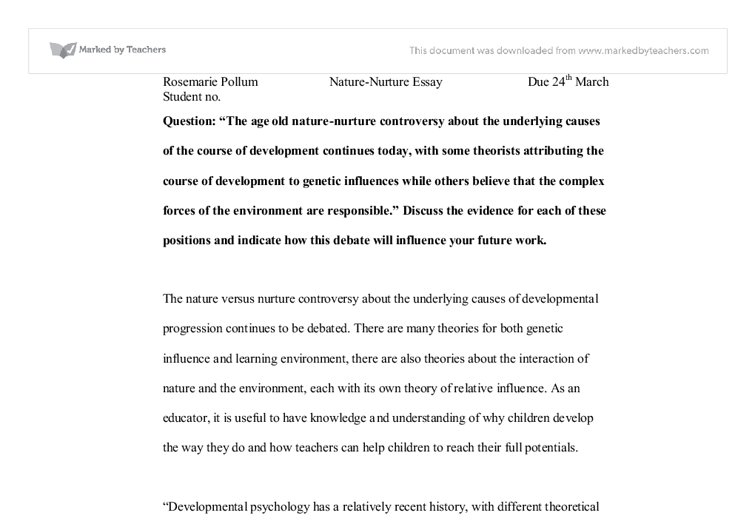 Purpose Of Thesis Statement In An Essay Document Image Preview English Essay Outline Format also Barack Obama Essay Paper Nature  Nurture Debate  University Biological Sciences  Marked  Term Paper Essays