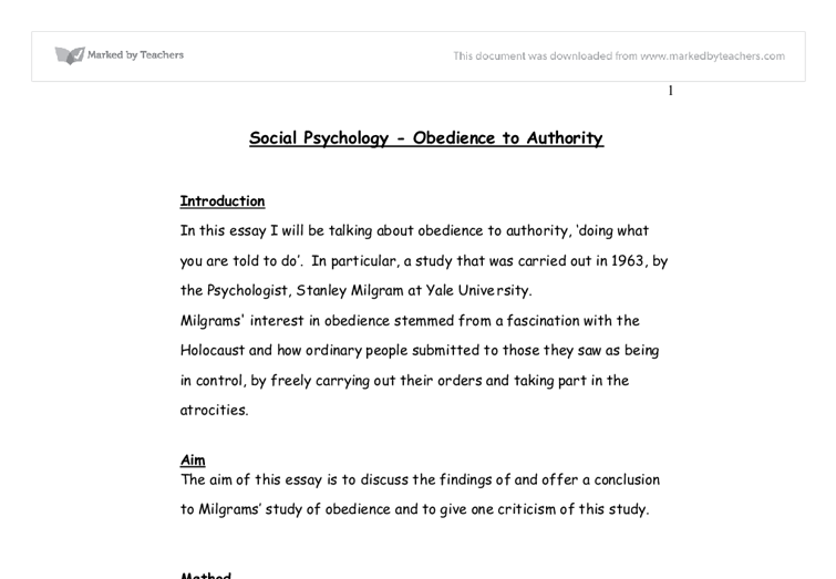 essay on obedience to authority Read this essay on obedience to authority come browse our large digital warehouse of free sample essays get the knowledge you need in order to.