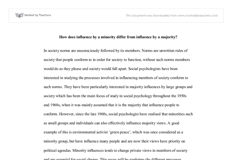 compare and contrast minority and majority influence university  document image preview