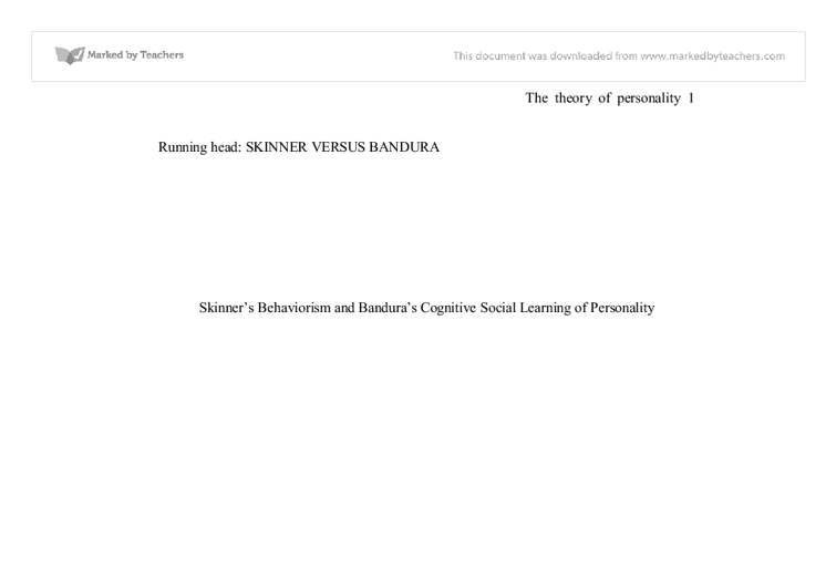 skinner s behaviorism and bandura s cognitive social learning of document image preview