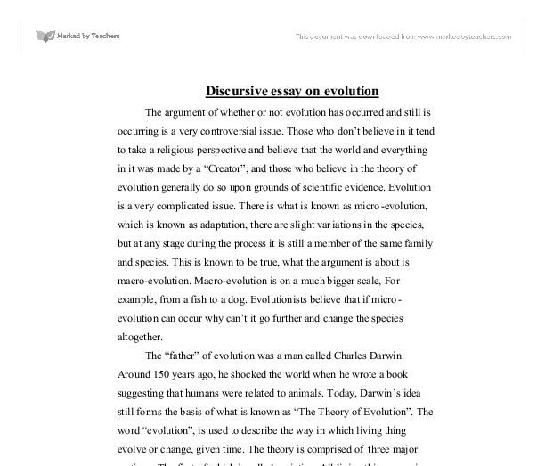 discursive essay on evolution university biological sciences  document image preview