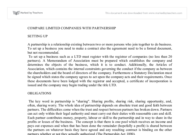 limited partnership in business essay