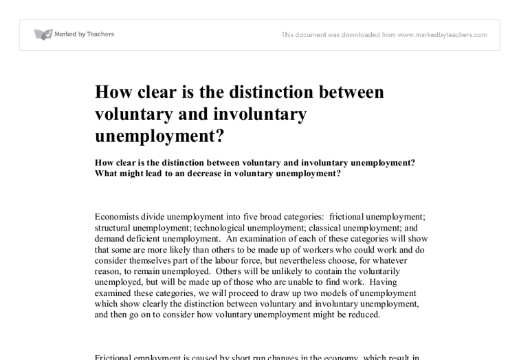 an introduction and an analysis of the voluntary and involuntary unemployment Introduction africa's growth  neoclassical economists view unemployment as voluntary because the labour market is  involuntary unemployment to institutional.