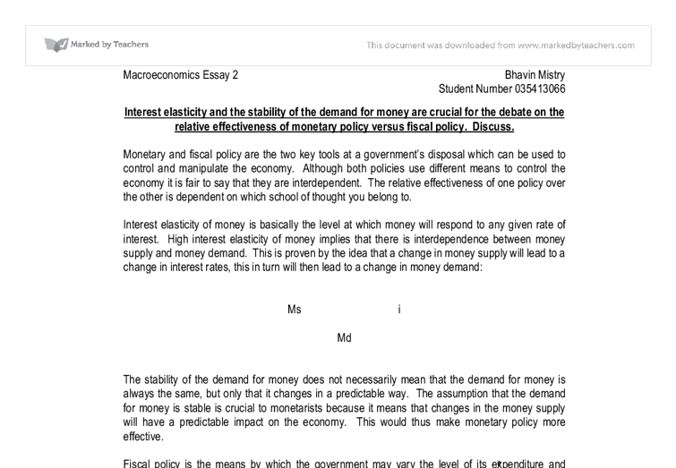 effectiveness fiscal policy essay