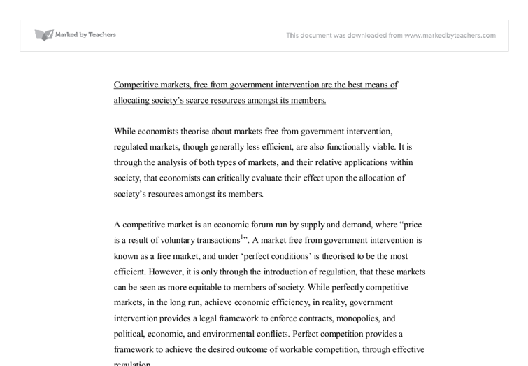government intervention essay Classical liberalism was the political philosophy of the  or if the case for government intervention is stronger in one realm than in the other it is not clear.
