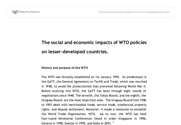 impacts of wto on trading countries essay (wisegeek, 2010) let us reviews them through the impact of free trade on international business those impacts can be  to it from its trading countries,.