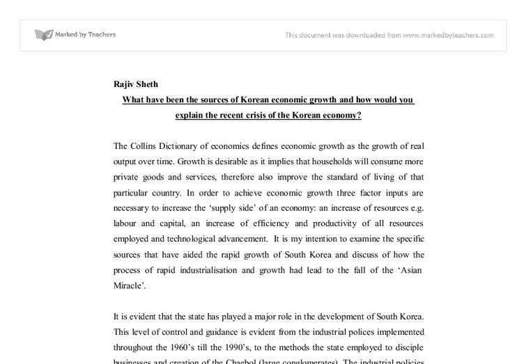 korean economic crisis essay South korea's incoherent economic choi's nomination sends ambiguous signals to south korean the harbinger of the traumatic asian financial crisis of.