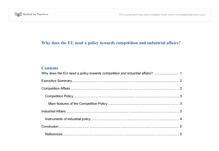 eu competition policy essay