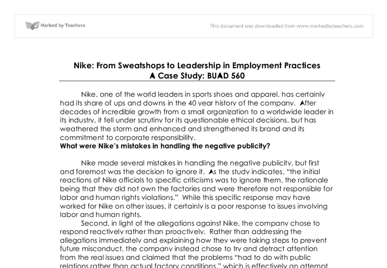 nike managing ethical missteps sweatshops to leadership in employment Transcript of nike: managing ethical missteps - sweatshops to leadership i how can nike address the issues managing ethical missteps - sweatshops to.