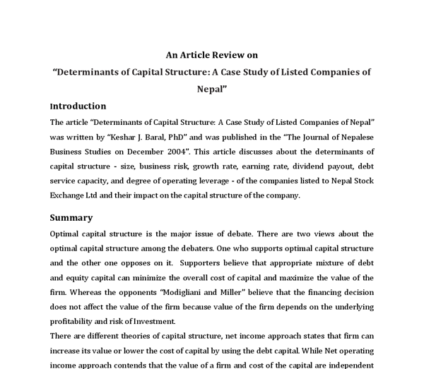 5 what is capital structure explain the features and determinants of an appropriate capital structur