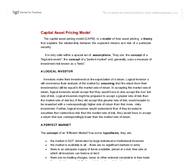 essay on capital asset pricing model