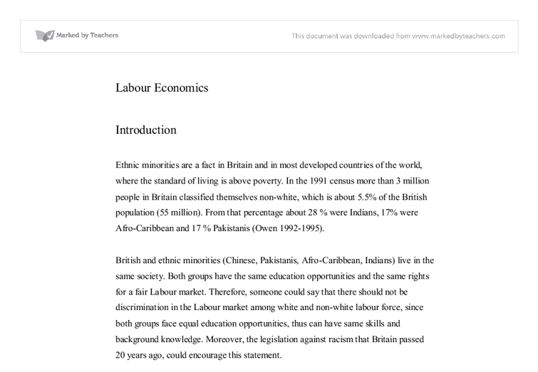 labour economics essay This dissertation consists of three chapters on topics in labor economics in the first chapter, i present a model in which firms under-invest in hiring novice.