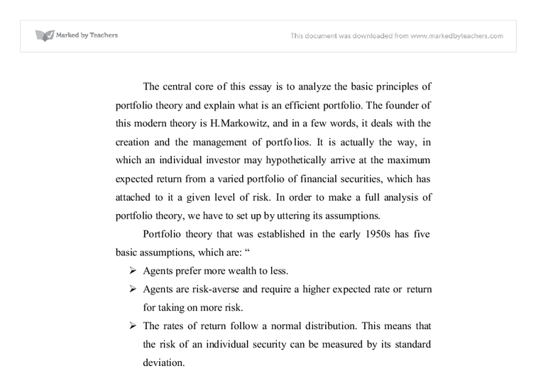 analyze the basic principles of portfolio theory and explain what  document image preview