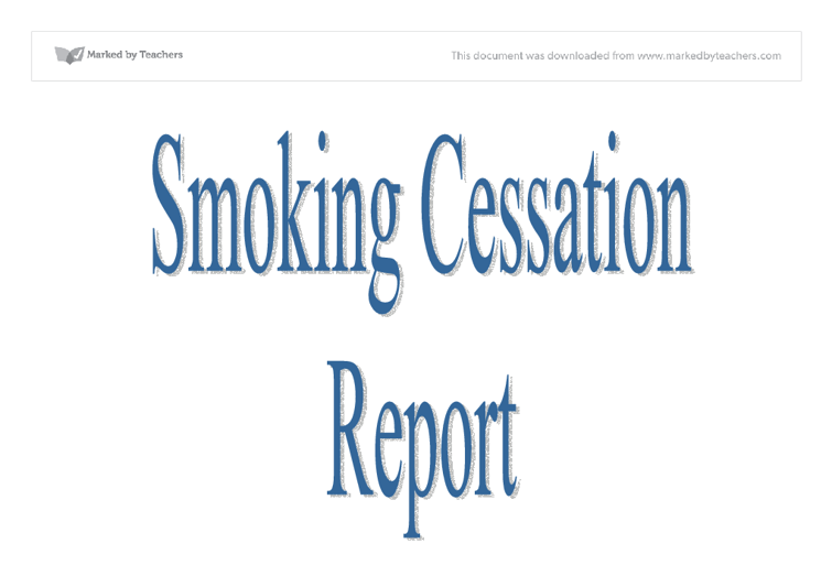 research paper on smoking cessation Quitting smoking is important for your health  (national cancer institute, tobacco control research branch) smoking cessation in recovering alcoholics.