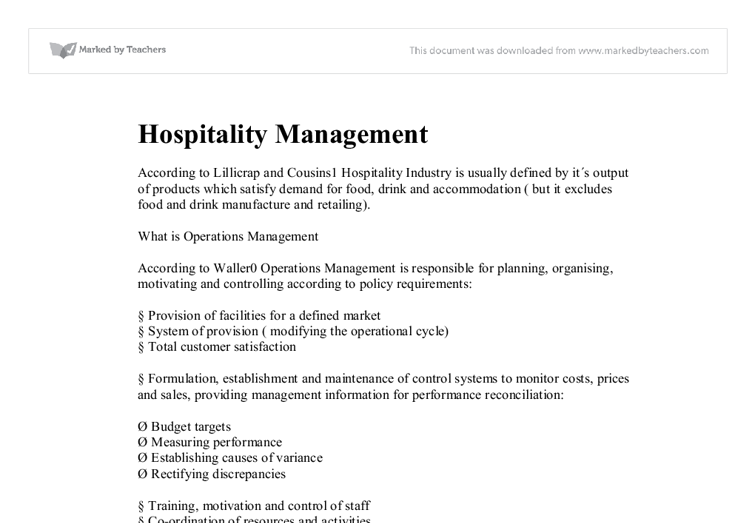 managing in hospitality essay As a graduate, you have a number of different career options with our career  center support and our strong recruitment program, we regularly see graduates.