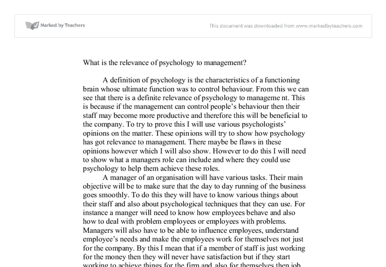 relevance of psychology to managers Psychology has many applications in finance and in career management learn how it can be applied in the field.