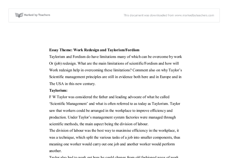 essay scientific management today Scientific management by federick taylor essay the principles of scientific management in 1911 has been marking thr beginning of today.
