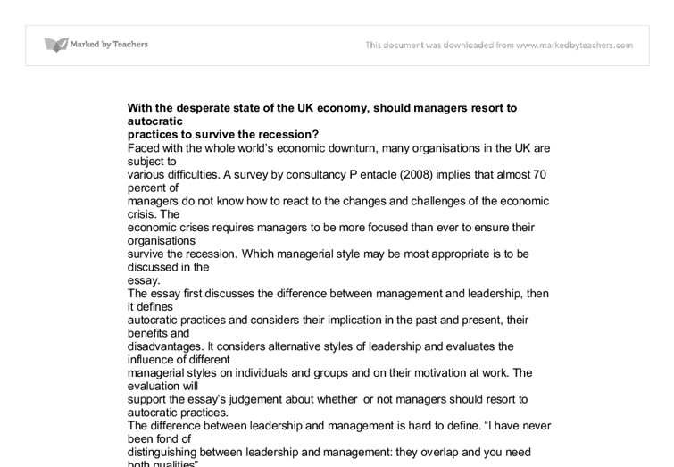 Autocratic business leadership in a recession essay
