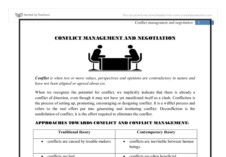 A Case Study of Conflict Management and Negotiation - PON ...