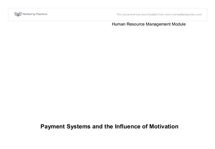 Payment Systems and the Influence of Motivation Essay