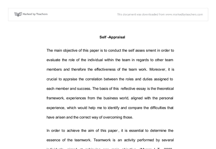 essay on teamwork - Examples Of Self Reflection Essay