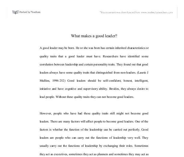 What makes me a good leader essay