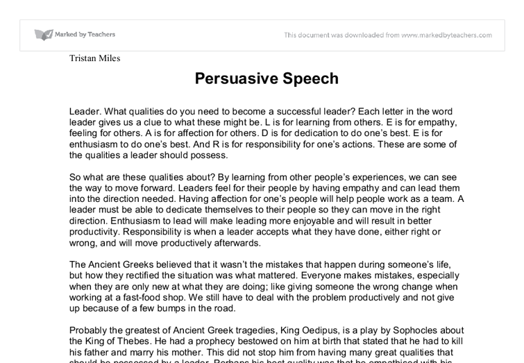 persuasive speech sample essay