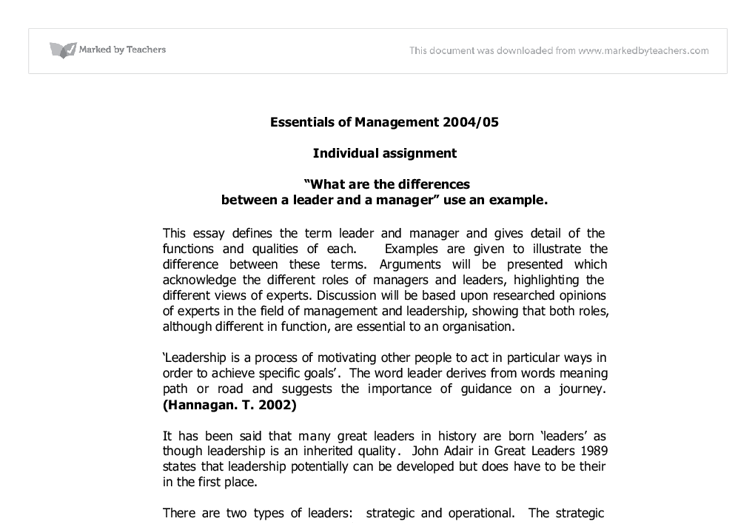 Essays on leadership and management