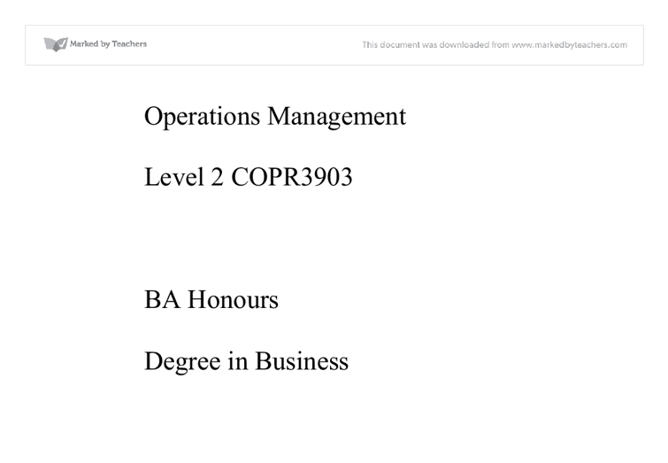 Operations Management major in college